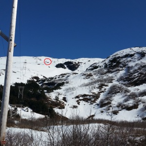 Camp 6 up Sheep Mountain is circled in red along the power lines.