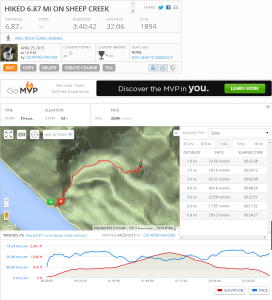 MapMyFitness map and profile information.